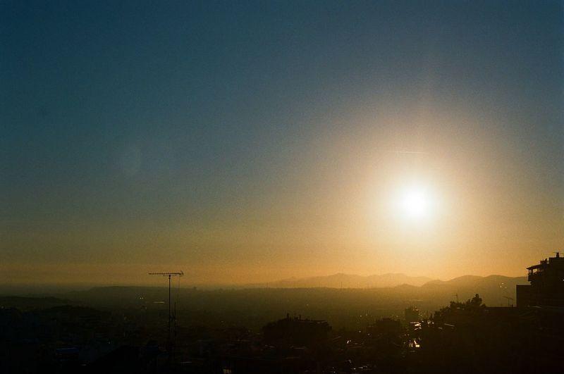 Sunset Sun Sky Sunlight Scenics City Homecourt  Manual SLR Camera 35mm Film BYOPaper!