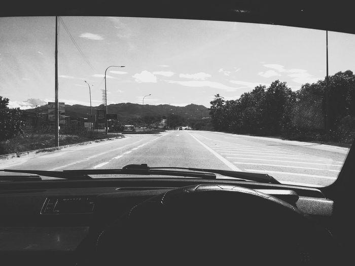 Black And White Transportation Mobile Photography Windshield Car Road POV Kota Kinabalu Kkip Redminote3
