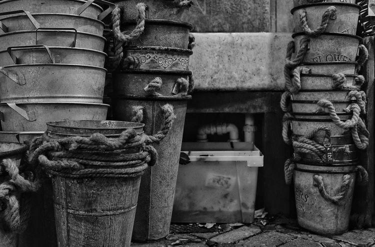Buckets Gardening Outdoors Black And White Photography Abundance Workplace Storage Area Black And White Friday EyeEm Ready