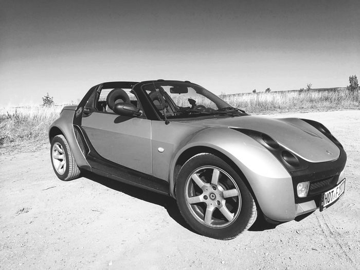 Smart Roadster Convertible Convertible Car Smart Car Smart Roadster Blackandwhite Tire Car Old-fashioned Sports Car Road Trip Sand Dune