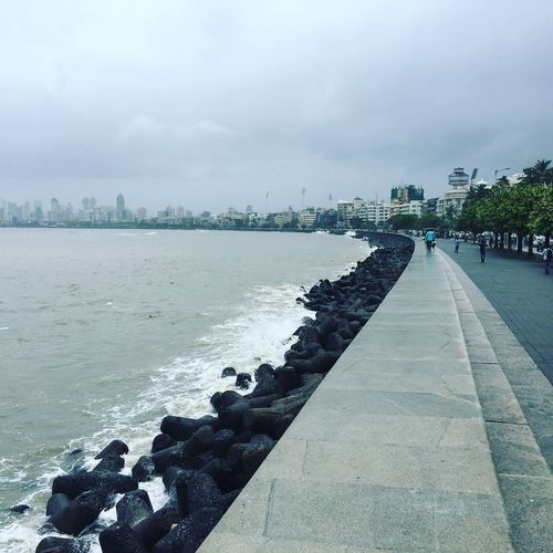 Walking on marine drive in this mosoon season with a cold wind touching my body