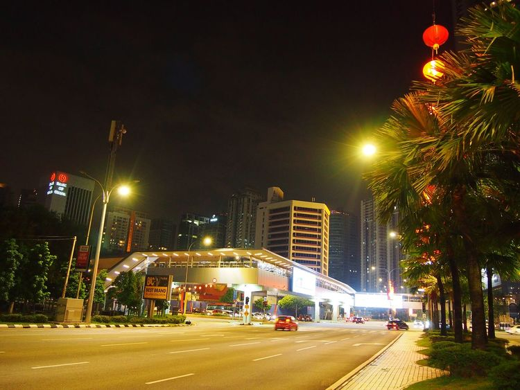 Street View of Jalan Tun Razak Kuala Lumpur Darksky Nightview Night Cnydecorations Chinese New Year Decor Car City Street Night Illuminated Street Light Outdoors Road No People City Tree Sky