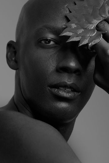 Close-up Studio Shot Human Face Portrait Black Skin Fashion Face Art Boy Beauty Art Photography Canon Art Model Tupaeva Photographer Shanghai Photography World Photography Portfolio Work Looking At Camera Arts Culture And Entertainment Black And White Young Men Handsome Human Body Part Black Background Headshot Young Adult Make-up One Person Young Women Indoors  Statue