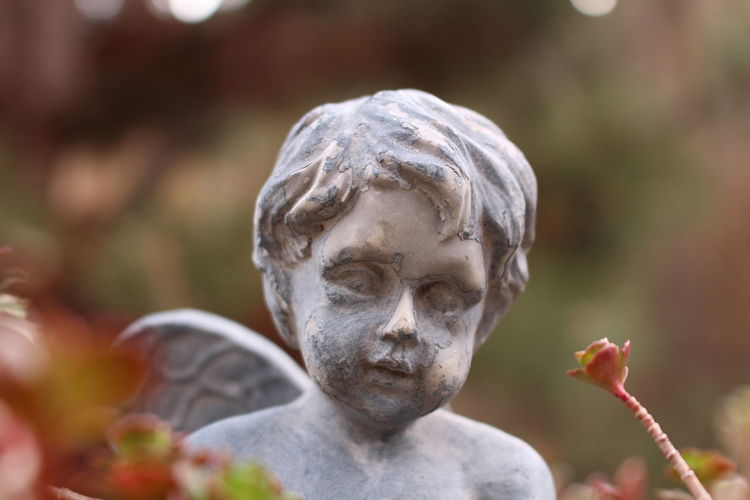 Angel Art And Craft Close-up Craft Creativity Day Focus On Foreground Human Representation Male Likeness Nature No People Outdoors Plant Religion Representation Sculpture Selective Focus Spirituality Statue
