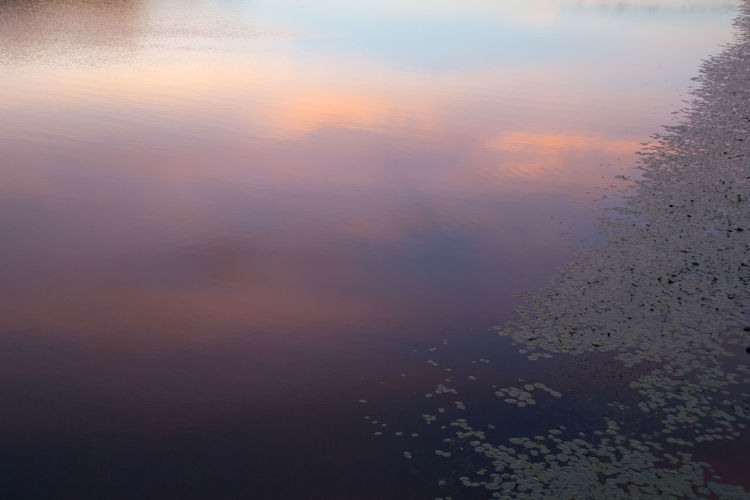 Backgrounds Beauty In Nature Calm Water Full Frame Gradient Idyllic Landscape Nature No People Outdoors Purple Reflection River Scenics Sky Tranquil Scene Tranquility Water Weather