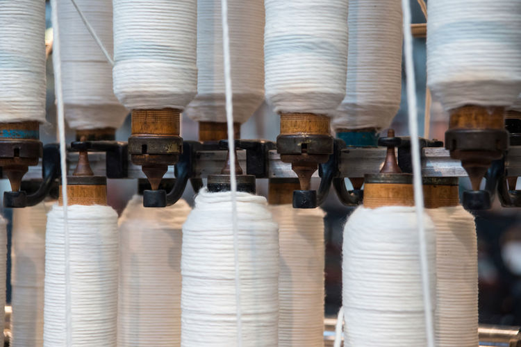 Close-up Cotton Fabric Making Group Of Objects In A Row Industry Japan Repetition Selective Focus Side By Side Spine Spinning Textile Thread Toyoda Weaving Weaving Machine