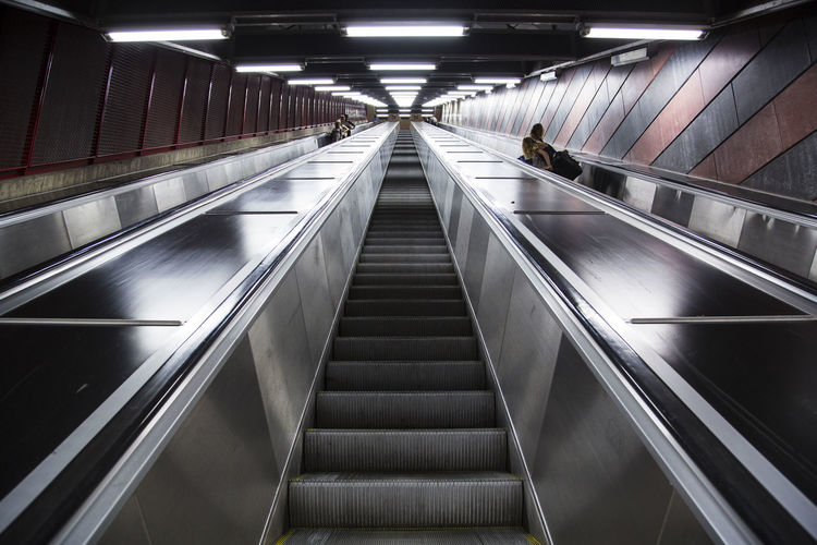Low angle view of escalator at subway station