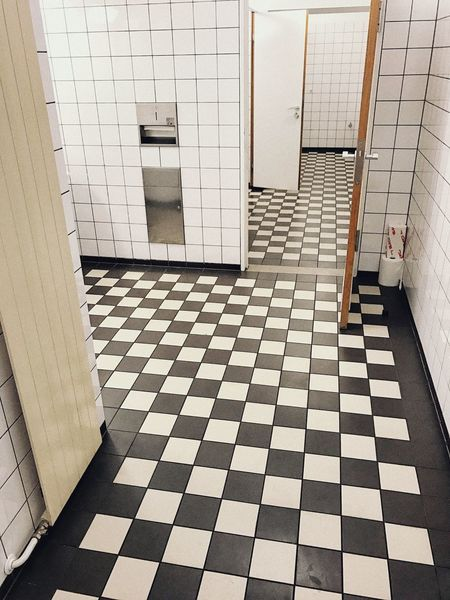 Angles. Design Interior Interior Design Clean Germs Public Space Rooms Toilet Spaces Geometry Checked Pattern Black And White Checked Pattern Tile Tiled Floor Architecture Flooring Pattern Built Structure Indoors  Entrance White Color