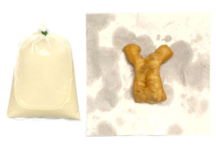 My breakfast is soy milk with fried dough. Paper Oil Healthy Food And Drink Food No People Sweet Food Still Life Close-up Indoors  White Background Freshness Baked Sweet Dessert Studio Shot