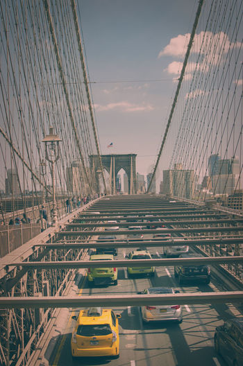 High angle view of brooklyn bridge against sky