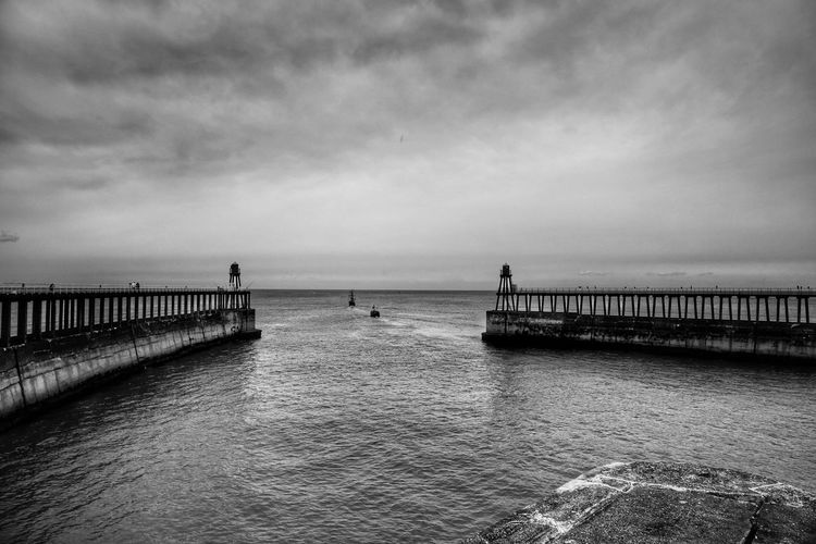 Whitby Whitby Whitby Abbey Sky Water Sea Cloud - Sky Scenics - Nature Horizon Pier Horizon Over Water Beauty In Nature Built Structure Nature Architecture Tranquility Tranquil Scene Day Beach Land Incidental People Outdoors Long