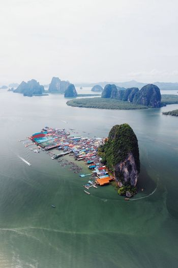 Koh Panyee Tourism Aerial View Drone  Adventure Exploring Thailand Koh Panyee Village Island Life Ao Phang Nga National Park Lifestyles Water Sea Beach Sky Horizon Over Water Architecture Moored Outrigger Dock Fishing Boat Longtail Boat Scenics Capture Tomorrow 17.62°