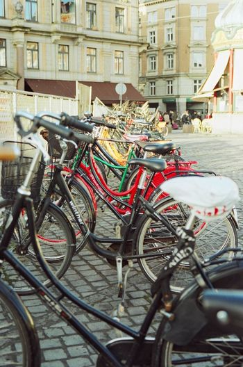 Canon Eos 3 Fujicolor Pro 400H Architecture Bicycle Building Exterior Built Structure City Day Film Photography Land Vehicle Mode Of Transport No People Outdoors Stationary Street Transportation