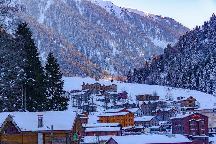Scenic view of snow covered houses and trees against mountains