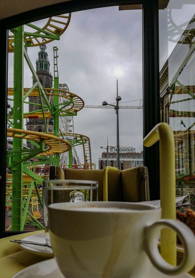 Coffeebreak Inside Out Colorful Coffee Break Martinitower Kermis Sky Architecture Built Structure Nature No People Building Exterior Outdoors Table