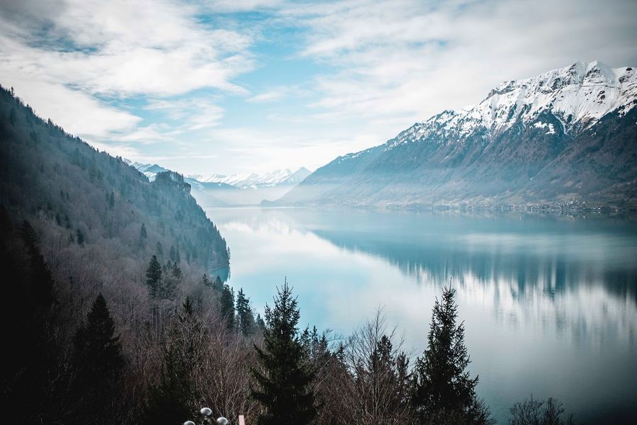 Serenity Switzerland Giessbachfall Giessbach Mountain Beauty In Nature Nature Sky Water Lake Tranquility Scenics Tranquil Scene Snow Tree Reflection Outdoors Day Landscape No People Mountain Range The Great Outdoors - 2018 EyeEm Awards