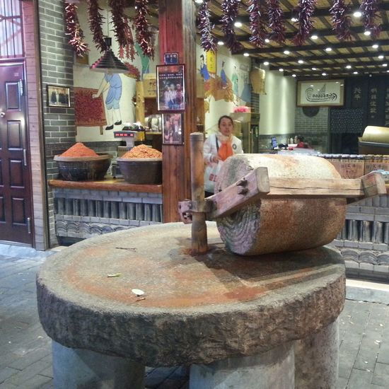 Food Grinders Ancient Shop Market Stall Food Processor Traditional Culture Stone Mill Working Occupation