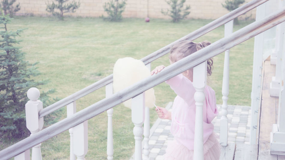 Young Lady Colour Your Horizn Girl Little Girl Little Lady  Happiness Childhood Candy-floss Stairs Cafe Happy Railing Day Outdoors People Tree