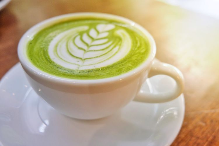 Green tea latte Caffeine Coffee Shop Green Tea Latte Art Pattern Milk Food And Drink Drinking Sunlight Delicious Yummy Drink Coffee - Drink Frothy Drink Food And Drink Refreshment Coffee Cup Latte Cafe Indoors  No People Healthy Eating Close-up Freshness Froth Art Day