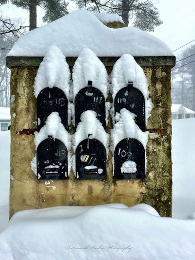 We got dumped on again! Snow Winter EyeEm Best Shots IPhoneography New England  Mailbox Mailboxes