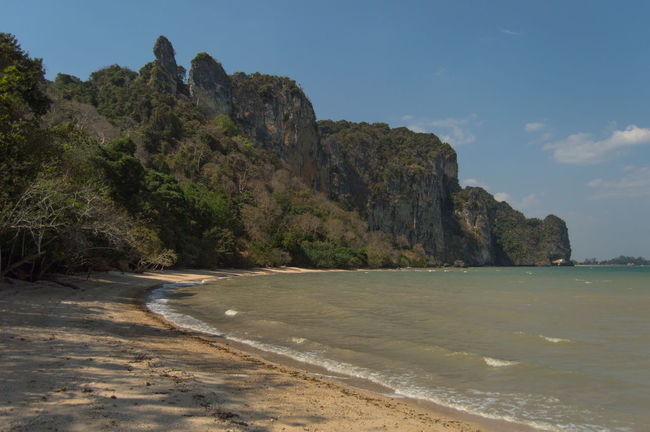 Krabi Beach Beauty In Nature Cliff Day Limestone Mountain Nature No People Outdoors Railay Beach Rock - Object Rock Formation Sand Scenics Sea Sky Tranquility Water