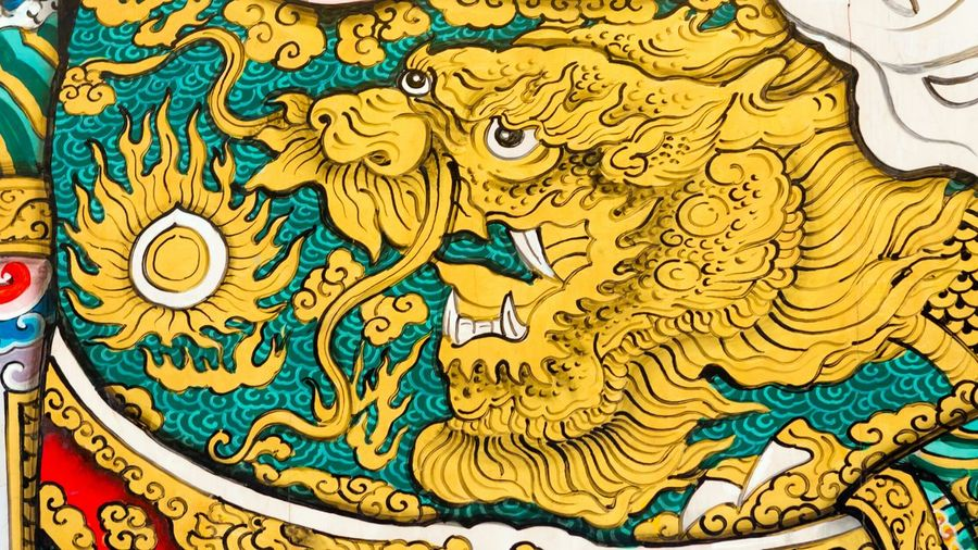 Dragon Cloth Drawing Chinese Chinatown Temple Buddhism Place Of Worship Door Gate Design Style Decoration Ancient Old Historic Colorful Legend Fairytale  Texture Pattern