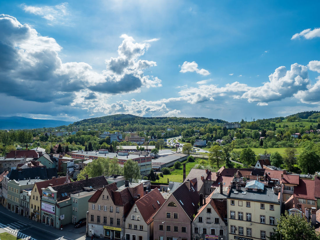 Old Town in the mountains on a sunny day Architecture Blue Building Exterior Built Structure City Life Cloud Cloud - Sky Crowded Day High Angle View House Housing Settlement Mountain Mountain Range No People Outdoors Residential District Roof Sky Tenement Houses Town Wide Shot