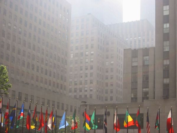 New York Architecture City Skyscraper Built Structure Flags Fog No People Outdoors Let's Go. Together.