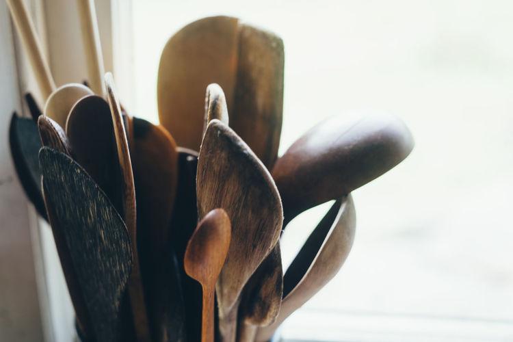 Close-up of spatulas