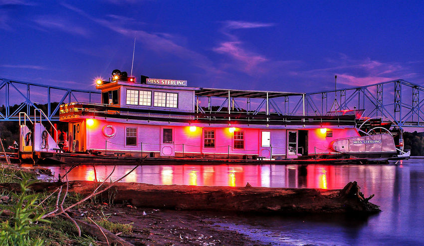 Riverboat on Ohio River Riverboat Sternwheeler Illuminated Nautical Vessel Industry Sky Architecture Built Structure Moored Boat Water Vehicle First Eyeem Photo