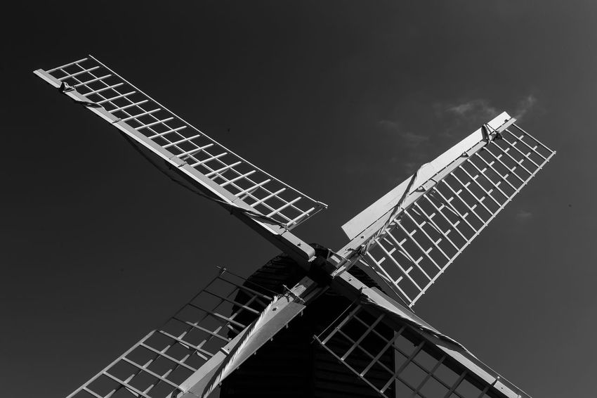 Sails of old windmill in Bromsgrove, Worcestershire, England. Alternative Energy Bromsgrove Day Environmental Conservation Environmental Issues Historical Building Industrial Windmill Low Angle View Monochrome No People Outdoors Renewable Energy Sky Technology Traditional Windmill Wind Power Windmill