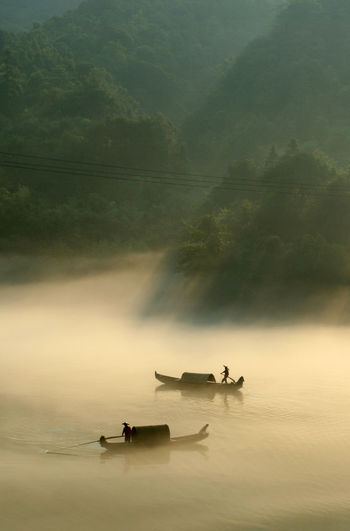 Boats on lake in china