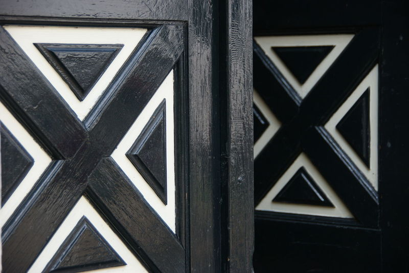 Black And White Building Exterior Built Structure Close-up Doors Eck En Wiel Fresh Paint Outdoors Pattern Triangles