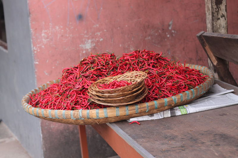 Red Chili Peppers In Wicker Container