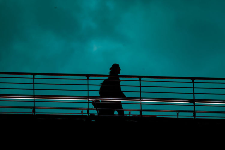 Rear view of silhouette man standing by railing against sky