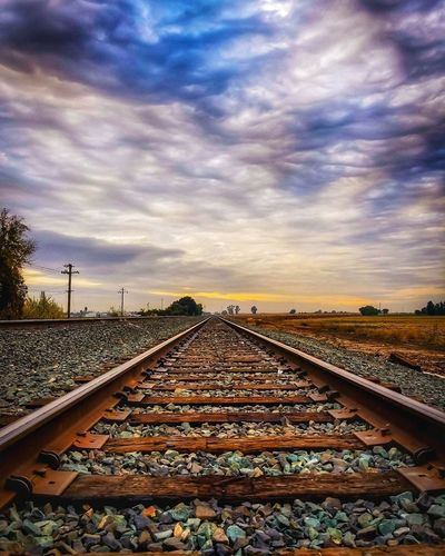The tracks... Railroad Track No People Landscape Beautiful EyeEm Best Shots Street Photography Photography Is Life Clouds And Sky Sunset And Clouds  Color Photography Sunsetlover California Love Sky Nor Cal Sunset Cloudporn Camera Love Road