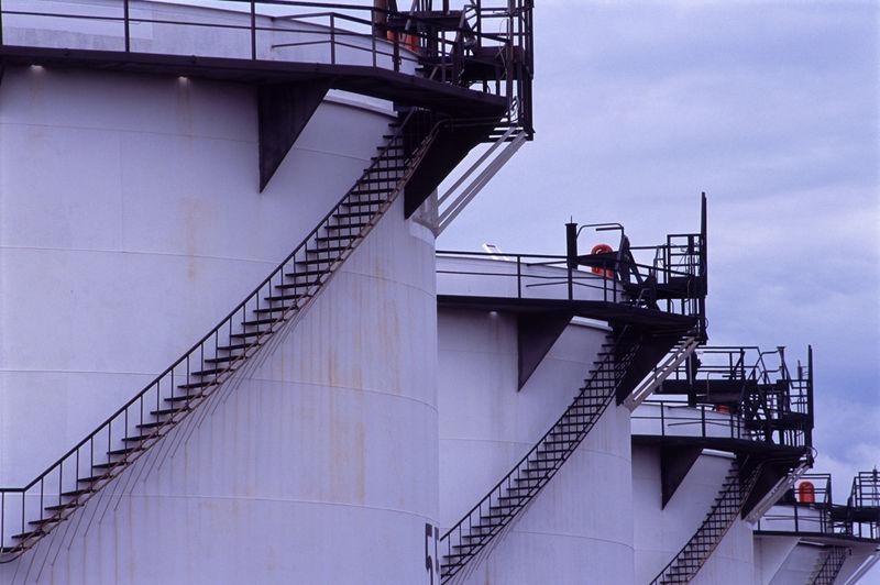 Storage Tanks At Oil Refinery