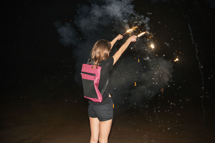 Kaboom! Fashion Fireworks Linas Was Here Smoke Black Outfit Black Shorts Brunette Flying Bugs Night Pink Backpack Pyrotechnics Summer Water Be Brave