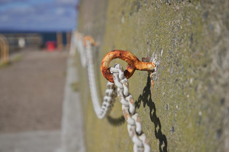 Close-up of rusty metal chain