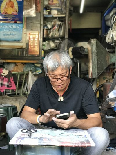 Concentration Looking Down One Person People Portrait Repairing Small Business Small Shop Thai People Thailand Working Seniors