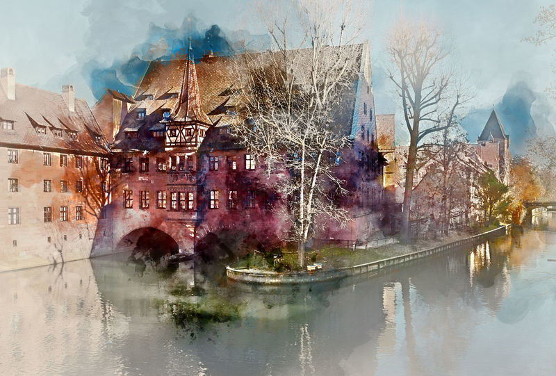 Digital watercolor painting of an ancient architecture and The Pegnitz river in Nuremberg, Bavaria. Germany Abstract Altered Ancient Architecture Art ArtWork Building Exterior Computer Generated Digital Art Digital Drawing Digital Illustration Digital Painting Digitally Generated Europe Generated Germany Graphic Illustration Landscape Nature Nuremberg Outdoors River Watercolor Watercolor Painting Waterside