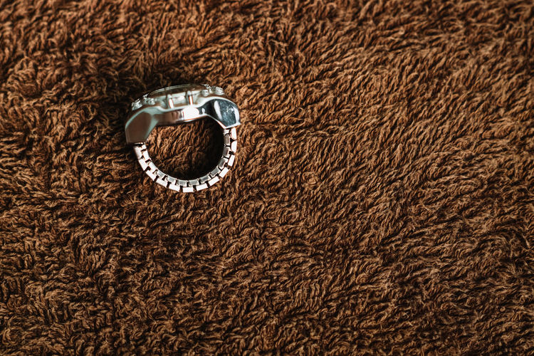 High angle view of wedding rings