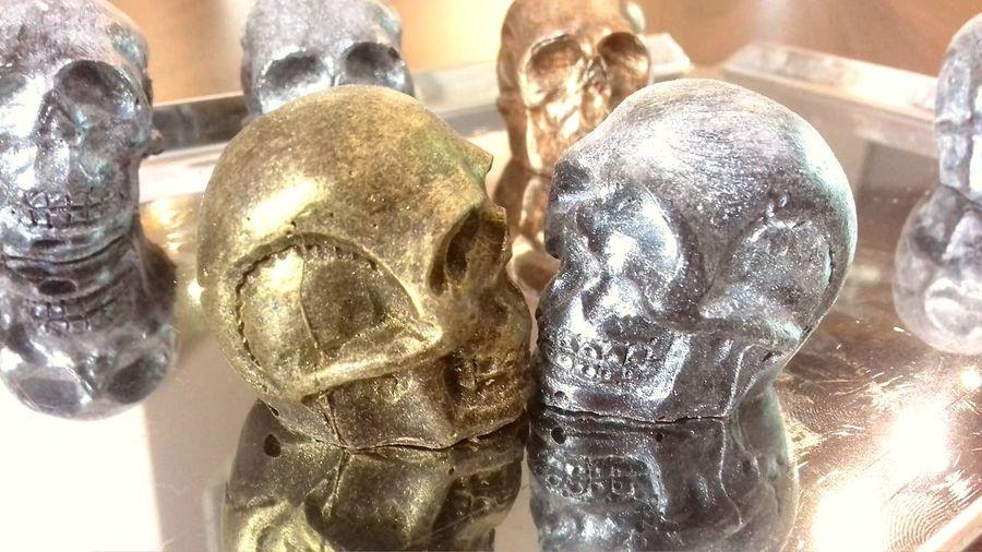 Chocolate Czech Yammy!!  Choco Chocolate Time Chzech Cokolada Creativity Darek Dobrutka Gift Gold Colored Indoors  Lebky Metal Mnam No People Pralines Pralinky Sculpture Silver Colored Skull Skull Face Skulls Tasty