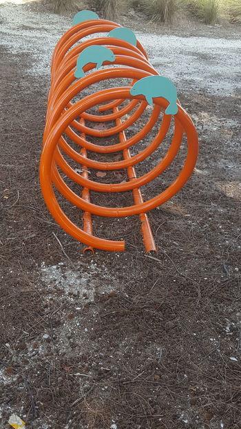 Bike rack Beach Photography Bike Rack Manatees Orange Color Blue Too Florida Life Florida Afternoon Around My Town