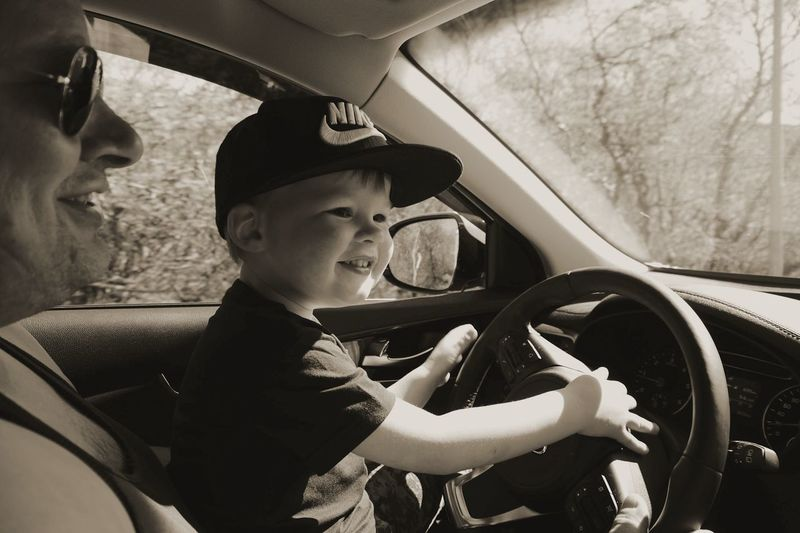 Live For The Story Car Childhood Smiling Child Grandson Driving Driving In My Car Turn On The Radio