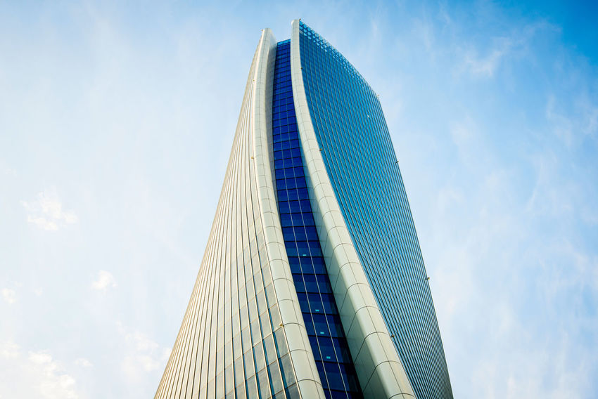 Zaha Hadid Architets skyscraper at Citylife Milan Italy Skyscrapers Architecture Building Exterior Built Structure City Citylife Low Angle View Modern Skyscraper Zaha Hadid Milan Milano The Week On EyeEm Milan Italy Milano Italy Archilovers Skyscraper Milan