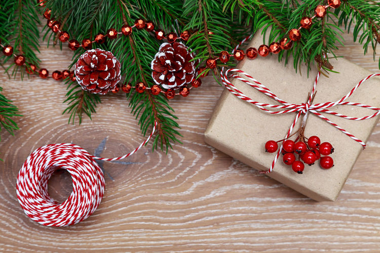 Christmas gift Christmas Xmas New Year Gift Box MAS Wrap Rope Box Gift Present Christmas Is Coming Suprise Decoration Branch Flat Lay Spruce Decor Rustic Style Rustic Ribbon Christmas Decoration Christmas Around The World Overhead View Preparation  Tradition