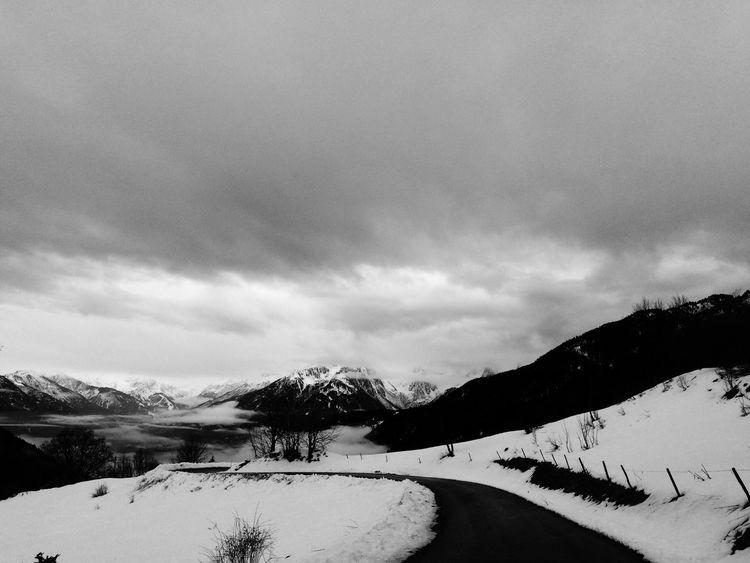 Snow Winter Sky Mountain Road Black And White Ski Trip