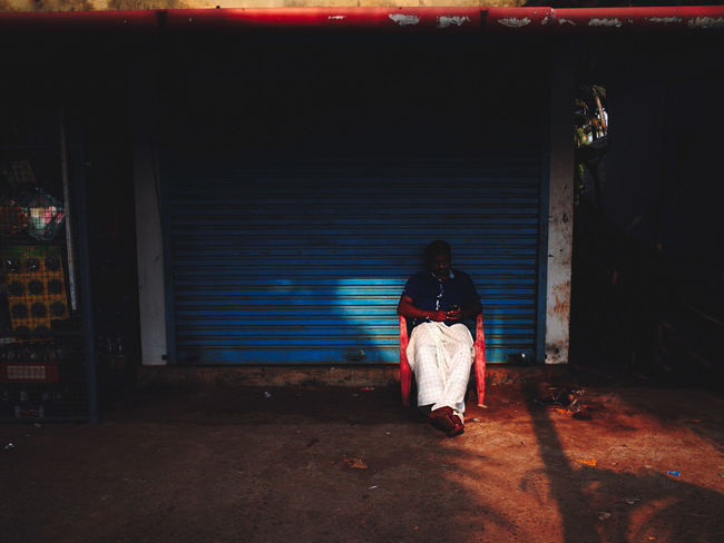 Alleppey Backwaters India Indian Street Photography Shade Shadowplay Shadows & Lights Sitting Outside Alappuzha Alleppey Blue Shutters Kerala Kerala India Shadow Shop Front Sitting In The Shade Sitting Outside St Street Photography Street Photography India Street Scene Street Scenes Of India