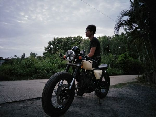 Motorcycle Transportation Only Men Outdoors Adventure Biker Young Adult